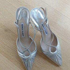 Manolo Blahnik silver slingback heels